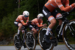 Karol-Ann Canuel (CAN) and Christine Majerus (LUX) at Ladies Tour of Norway 2018 Team Time Trial, a 24 km team time trial from Aremark to Halden, Norway on August 16, 2018. Photo by Sean Robinson/velofocus.com