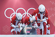 South Korea, PyeongChang - 2018 February 25: Mateusz Luty (pilot) and Lukasz Miedzik and Grzegorz Kossakowski and Arnold Zdebiak all from Poland run on the track while Bobsleigh 4-man Heat 3 Final during The 2018 PyeongChang Olympic Winter Games at Olympic Sliding Centre on February 25, 2018 in PyeongChang, South Korea.<br /> <br /> Mandatory credit:<br /> Photo by &copy; Adam Nurkiewicz<br /> <br /> Adam Nurkiewicz declares that he has no rights to the image of people at the photographs of his authorship.<br /> <br /> Picture also available in RAW (NEF) or TIFF format on special request.<br /> <br /> Any editorial, commercial or promotional use requires written permission from the author of image.