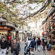 A cobblestone Istanbul street near the Grand Bazaar