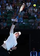 ANDY MURRAY (GBR) ,Aufschlag im Gegenlicht, Schatten,Schweiss,<br /> Australian Open 2017 -  Melbourne  Park - Melbourne - Victoria - Australia  - 22/01/2017.