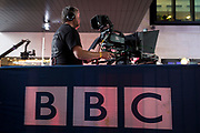 A BBC cameraman operates his equipment during a rehearsal for an outside broadcast for the One Show at Broadcasting House, on 4th October 2018, in London, England.