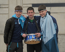 Jason McGlynn, Tommy Smith and Darragh Grimes pictured at Croke Park supporting Rice College in the Hogan Cup Final.<br />