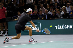 October 30, 2018 - Paris, France - Portuguese player JOAO SOUSA returns the ball to Serbian player NOVAK DJOKOVIC during the tournament Rolex Paris Master at Paris AccorHotel Arena Stadium in Paris France..Novak Djokovic  won 7-5 6-1 (Credit Image: © Pierre Stevenin/ZUMA Wire)