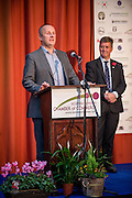 Ian Burton, of SBCC, announcing he winners of the 2015 Scottish Border Business Award  for the Application of Creativity: First Borders. <br />