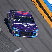 Darrell Wallace Jr., driver of the #43 Click n' Close Chevrolet races during the 60th Annual NASCAR Daytona 500 auto race at Daytona International Speedway on Sunday, February 18, 2018 in Daytona Beach, Florida.  (Alex Menendez via AP)