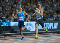 Athletics - 2017 IAAF London World Athletics Championships - Day Eight, Evening Session<br /> <br /> Mens Decathlon - 400m<br /> <br /> Rico Freimuth (Germany) and Ilya  Shkurenev (authorised neutral athlete) come home at the London Stadium<br /> <br /> COLORSPORT/DANIEL BEARHAM