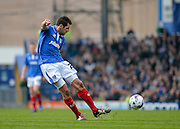 Portsmouth midfielder Danny Hollands with a shot at goal during the Sky Bet League 2 match between Portsmouth and Carlisle United at Fratton Park, Portsmouth, England on 2 April 2016. Photo by Adam Rivers.