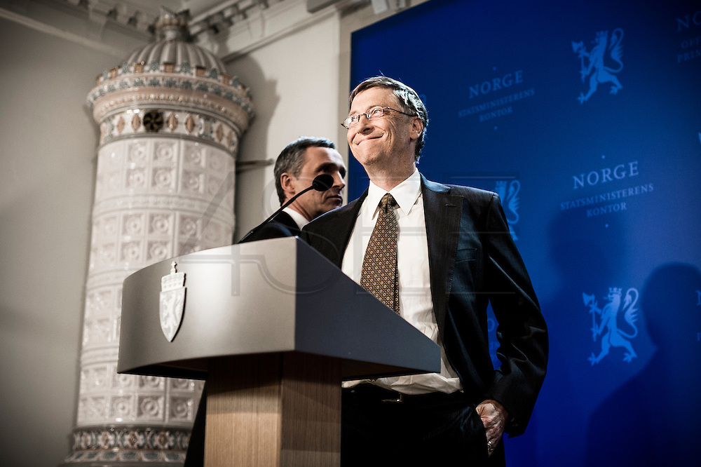 Bill Gates during a press conference in Oslo while visiting Norwegian PM Jens Stoltenberg for meetings about international health.