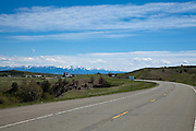 US Route 89 approaching Wilsall, Montana, with the Crazy Mountains in the background