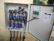 computerized Irrigation system, at the Eco Garden Organic gardening and farming project, Hiafa, Israel