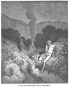 Cain and Abel Offering Their Sacrifices Genesis 4:3-5 From the book 'Bible Gallery' Illustrated by Gustave Dore with Memoir of Doré and Descriptive Letter-press by Talbot W. Chambers D.D. Published by Cassell & Company Limited in London and simultaneously by Mame in Tours, France in 1866