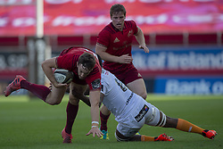 September 1, 2018 - Limerick, Ireland - Darren Sweetnam of Munster tackled by Junior Pokomela of Cheetahs during the Guinness PRO14 rugby match between Munster Rugby and Toyota Cheetahs at Thomond Park Stadium in Limerick, Ireland on September 1, 2018  (Credit Image: © Andrew Surma/NurPhoto/ZUMA Press)