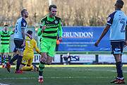 Forest Green Rovers Christian Doidge(9) scores a goal 2-0 and celebrates during the EFL Sky Bet League 2 match between Forest Green Rovers and Crawley Town at the New Lawn, Forest Green, United Kingdom on 24 February 2018. Picture by Shane Healey.