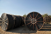 Stored irrigation piping Photographed in Golan Heights, Israel