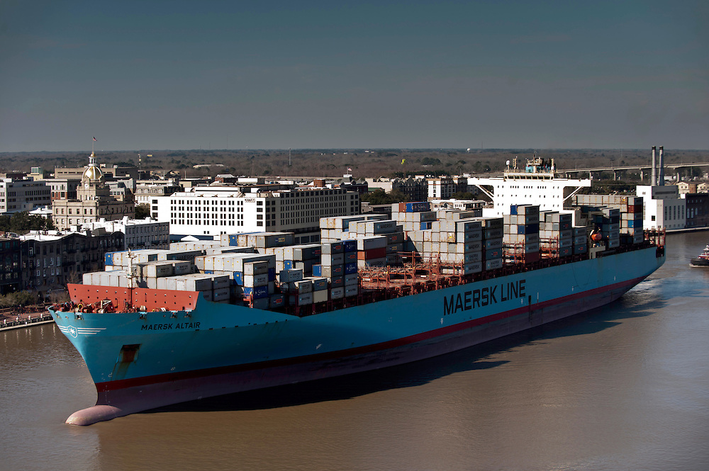 The container ship Maersk Altair sails past Historic River Street from the Gardens City terminal at the  Georgia Ports Authority Port of Savannah, Thursday, Feb, 20, 2014, in Savannah, Ga.  (GPA Photo/Stephen B. Morton)