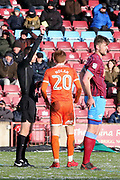 Shrewsbury Town midfielder Jon Nolan (20) is shown a yellow card, booked  during the EFL Sky Bet League 1 match between Scunthorpe United and Shrewsbury Town at Glanford Park, Scunthorpe, England on 17 March 2018. Picture by Mick Atkins.