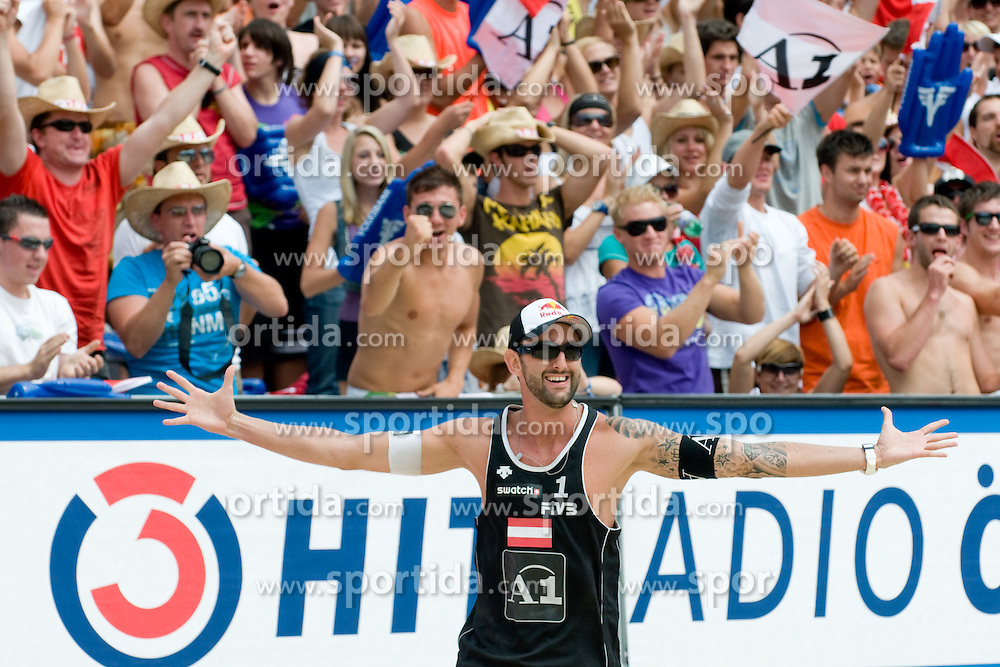Clemens Doppler of Austria celebrating victory at A1 Beach Volleyball Grand Slam tournament of Swatch FIVB World Tour 2010, on July 31, 2010 in Klagenfurt, Austria. (Photo by Matic Klansek Velej / Sportida)