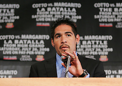 May 22, 2008; New York, NY, USA;  Antonio Margarito speaks during the press conference announcing his fight against WBA Welterweight Champion Miguel Cotto.  The two will meet on Saturday, July 26, 2008 at the MGM Grand Garden Arena in Las Vegas, NV.