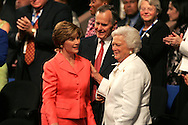 A 24 MG IMAGE OF:..Laura Bush, President G Bush sr. and Barbara Bush at  the Republican National Convention in New York, NY on September 2, 2004.  Photograph by Dennis Brack