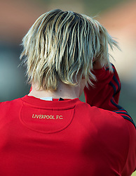 LIVERPOOL, ENGLAND - Wednesday, March 10, 2010: Liverpool's Fernando Torres training at Melwood Training Ground ahead of the UEFA Europa League match against LOSC Lille Metropole. (Photo by David Rawcliffe/Propaganda)