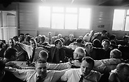 The town males, drinking rum and milk, sing songs about the town and townsfolk during the 'Curds and Creams repast', a male only event, in St. Leonards Hut, during Hawick Common Riding week. Scotland..PIC©JEREMY SUTTON-HIBBERT 2000..