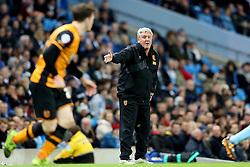 Hull City Manager Steve Bruce urges his team forward - Mandatory byline: Matt McNulty/JMP - 01/12/2015 - Football - Etihad Stadium - Manchester, England - Manchester City v Hull City - Capital One Cup - Quarter-final
