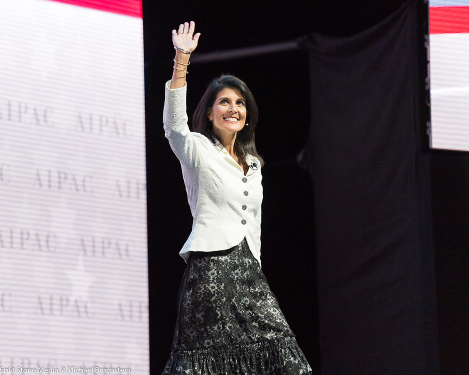 Ambassador to the United Nations Nikki Haley addressing the 2017 American Israel Public Affairs Committee (AIPAC) Policy Conference in Washington, D.C.