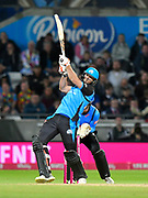 Ross Whiteley of Worcestershire plays an attacking shot during the final of the Vitality T20 Finals Day 2018 match between Worcestershire Rapids and Sussex Sharks at Edgbaston, Birmingham, United Kingdom on 15 September 2018.