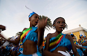 Happy, colourful costumed people. Carnival. Mindelo. Cabo Verde. Africa.