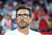 SEVILLE, SPAIN - AUGUST 10:  Head Coach of AS Roma Eusebio Di Francesco looks on during a Pre Season Friendly match between Sevilla FC and AS Roma at Estadio Ramon Sanchez Pizjuan on August 10, 2017 in Seville, Spain.  (Photo by Aitor Alcalde/Getty Images)