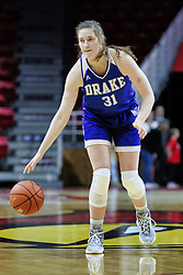 NORMAL, IL - January 06: Monica Burich during a college women's basketball game between the ISU Redbirds and the Drake Bulldogs on January 06 2019 at Redbird Arena in Normal, IL. (Photo by Alan Look)