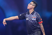 Rowby-John Rodriguez reaction after missing a dart at a double during the PDC William Hill World Darts Championship at Alexandra Palace, London, United Kingdom on 17 December 2019.