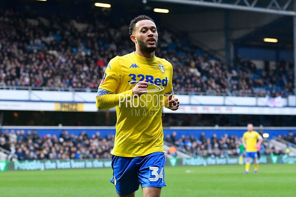 Lewis Baker (34) of Leeds United during the The FA Cup 3rd round match between Queens Park Rangers and Leeds United at the Loftus Road Stadium, London, England on 6 January 2019.