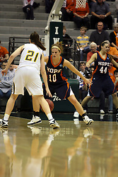 19 March 2010: Jenny Cowen guards Melissa Alwardt. The Flying Dutch of Hope College defeat the Yellowjackets of the University of Rochester in the semi-final round of the Division 3 Women's Basketball Championship by a score of 86-75 at the Shirk Center at Illinois Wesleyan in Bloomington Illinois.
