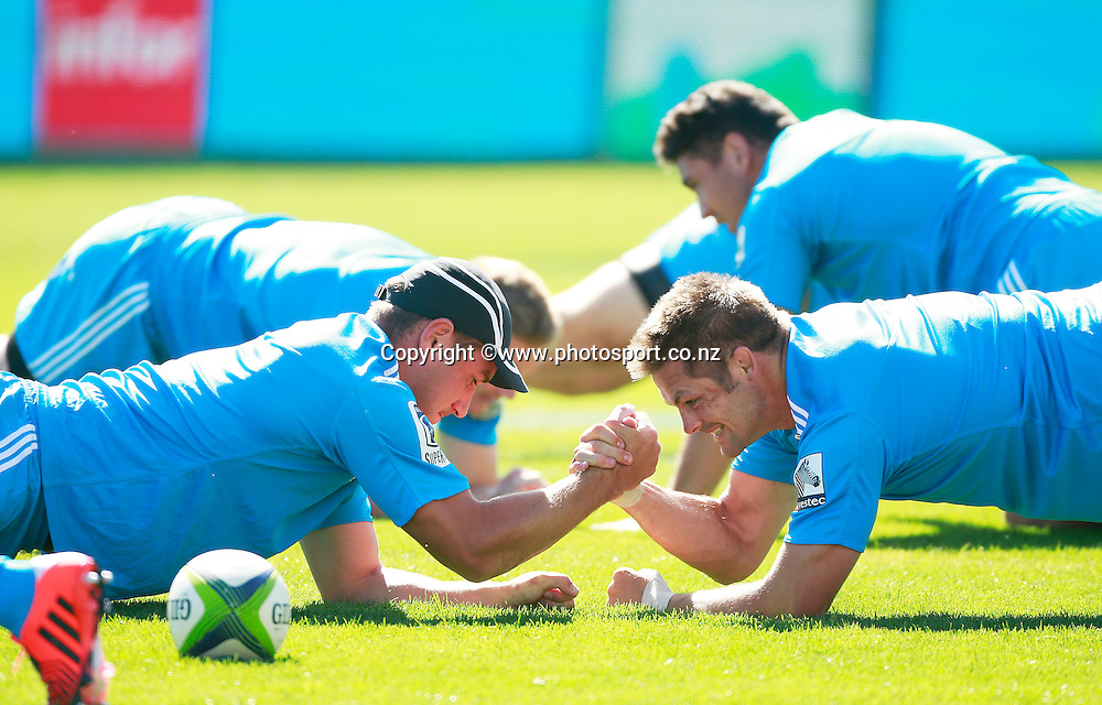 Luke Romano of the Crusaders and Richie McCaw during a captains run training session held at AMI Stadium, Christchurch. 12 February 2015 Photo: Joseph Johnson / www.photosport.co.nz