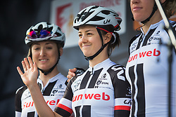 Ruth Winder (USA) of Team Sunweb smiles before Liege-Bastogne-Liege - a 136 km road race, between Bastogne and Ans on April 22, 2018, in Wallonia, Belgium. (Photo by Balint Hamvas/Velofocus.com)