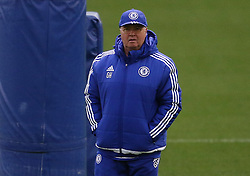 © Licensed to London News Pictures. 22/12/2015. London, UK. Chelsea football club interim manager Guus Hiddink takes a training session at the club's Cobham ground. Photo credit: Peter Macdiarmid/LNP