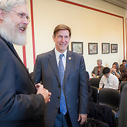 George Church, PhD, Harvard Medical School, left, and Jennifer Doudna, PhD, University of California, Berkely, meet Rep. Don Beyer (D-VA 8) after The Personal Genetics Education Project (pgEd) held a congressional briefing in Washington, D.C. on Tuesday, November 17, 2015.  Doudna and Church are pioneers in the development and implementation of CRISPR genome technology.  For Harvard University