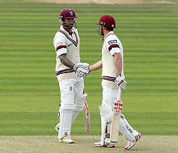 Somerset's James Hildreth is congratulated by Somerset's Peter Trego after completing his 50 - Photo mandatory by-line: Robbie Stephenson/JMP - Mobile: 07966 386802 - 21/06/2015 - SPORT - Cricket - Southampton - The Ageas Bowl - Hampshire v Somerset - County Championship Division One