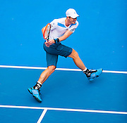 Andy Murray (GBR) faced F. Lopez (ESP) in Day 6 Men's Singles play at the 2014 Australian open in Melbourne's HiSense Arena. Murray won the match 7 (7) - 6 (2), 6-4, 6-2.