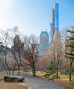 "A view from Central Park, Manhattan showing the progress of Extell's luxury apartment complex and Hyatt's new Flagship luxury hotel ""One57.""<br />