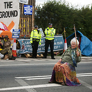 13 local activists locked themselves in specially made arm tubes to block the entrance to Quadrilla's drill site in New Preston Road, July 03 2017, Lancashire, United Kingdom. 85 year old Nanne Powers supporting the activists. The 13 activists included 3 councillors; Julie Brickles, Miranda Cox and Gina Dowding and Nick Danby, Martin Porter, Jeanette Porter,  Michelle Martin, Louise Robinson,<br />