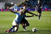 Manchester City midfielder Claire Emslie (22) and Everton midfielder Angharad James (12) during the FA Women's Super League match between Manchester City Women and Everton Women at the Sport City Academy Stadium, Manchester, United Kingdom on 20 February 2019.