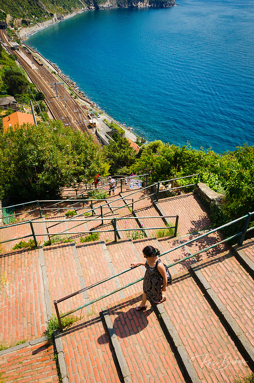 Staircase leading to Corniglia train station, Cinque Terre, Liguria, Italy