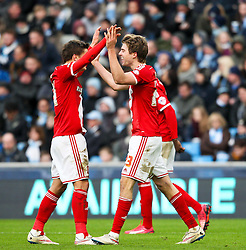 Middlesbrough's Patrick Bamford celebrates after scoring the opening goal - Photo mandatory by-line: Matt McNulty/JMP - Mobile: 07966 386802 - 24/01/2015 - SPORT - Football - Manchester - Etihad Stadium - Manchester City v Middlesbrough - FA Cup Fourth Round