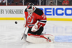 Jan 31; Newark, NJ, USA; New Jersey Devils goalie Martin Brodeur (30) makes a save during the first period of their game against the New York Rangers at the Prudential Center.