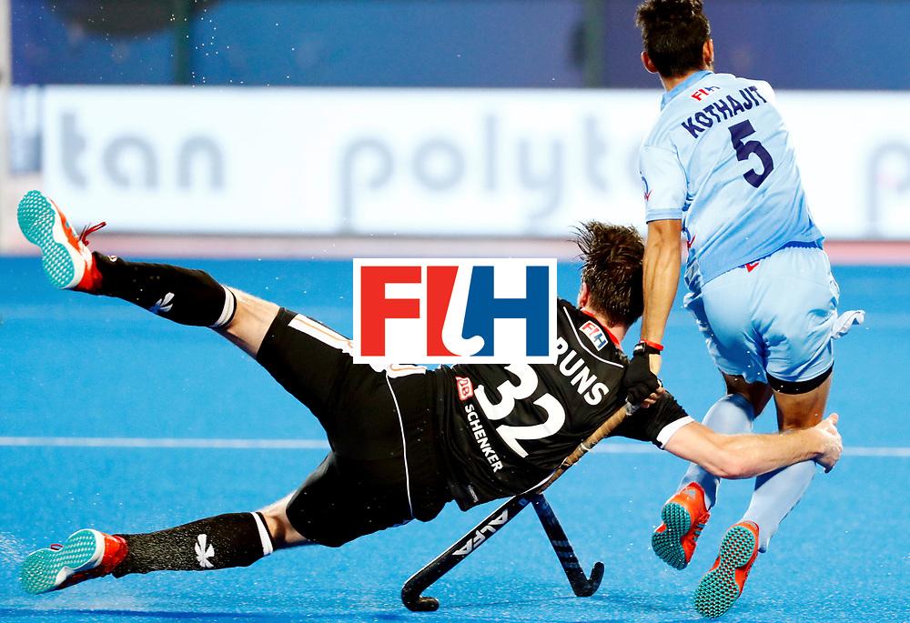 Odisha Men's Hockey World League Final Bhubaneswar 2017<br /> Match id:21<br /> India v Germany<br /> Foto: Niklas Bruns (Ger) and Kothajit Khadangbam (Ind) <br /> WORLDSPORTPICS COPYRIGHT KOEN SUYK