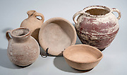 5 Iron Age Terracotta vessels 1st millennium BCE 2 bowls, cooking pot, jug and decanter