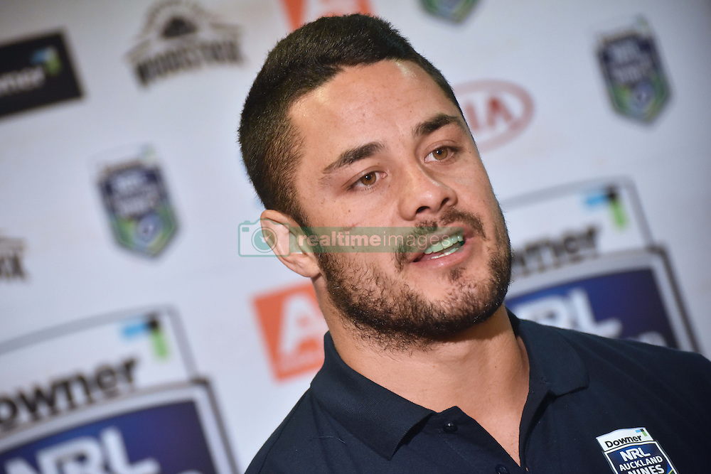 October 26, 2016 - Auckland, Auckland, New Zealand - Jarryd Hayne speaks to the media during  a media conference in Auckland, New Zealand. Jarryd Hayne is a world class international NRL player, He is announcing he is playing the Downer NRL Auckland Nines next year. (Credit Image: © Shirley Kwok/Pacific Press via ZUMA Wire)
