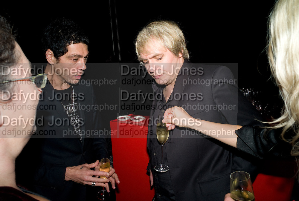 TIM NOBLE; NICK RHODES, The Summer Party. Hosted by the Serpentine Gallery and CCC Moscow. Serpentine Gallery Pavilion designed by Frank Gehry. Kensington Gdns. London. 9 September 2008.  *** Local Caption *** -DO NOT ARCHIVE-© Copyright Photograph by Dafydd Jones. 248 Clapham Rd. London SW9 0PZ. Tel 0207 820 0771. www.dafjones.com.